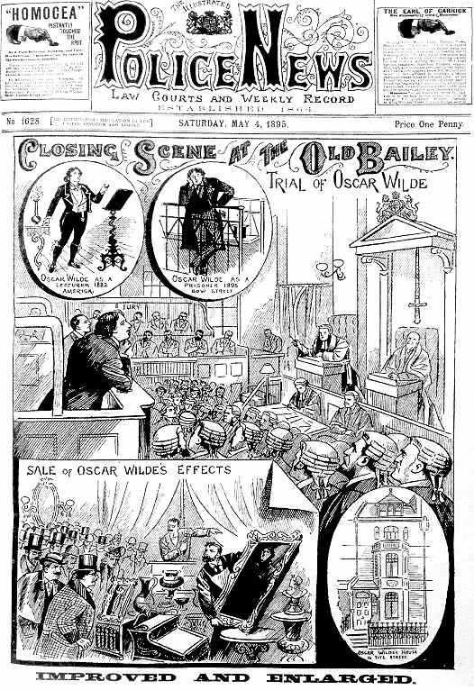 Wilde in the Dock, from 'The Illustrated Police News', 4 May 1895 © Wikimedia Commons
