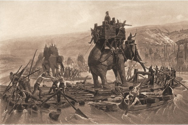 The army, and war elephants, of Hannibal cross the Rhone River. © Getty Images