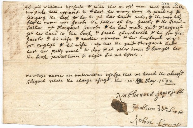 The testimony of Abigal Williams against George Jacobs Jr © Massachusetts Historical Society