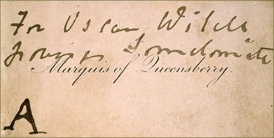 The Marquess of Queensbury's handwritten note © Wikimedia Commons