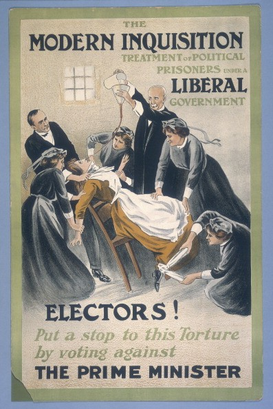 Suffragist propaganda posters drew attention to the routine force feeding of hunger strikers © Getty Images