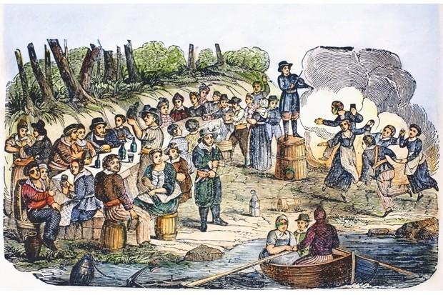 Blackbeard and Charles Vane's crews party the night away on Ocracoke Island. © Topfoto