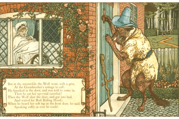 Walter Crane's The Wolf Knocks on the Door While Grandma Lies in Bed