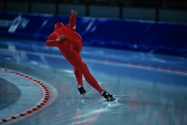Speed skater on ice rink, Winter Olympics, Norway