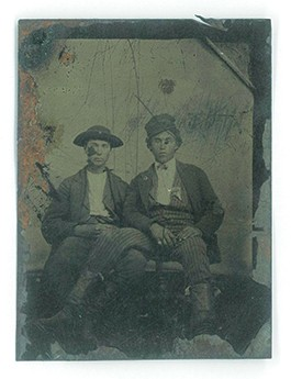 Brothers Keith and Brian Collins believe this image shows Billy the Kid (right) with his half-brother Joseph McCarty, soon after his killing of Frank 'Windy' Cahill