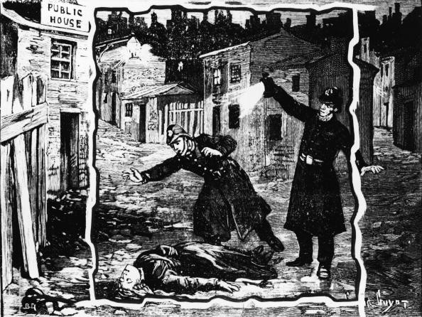 Illustration shows the police discovering the body of one of Jack the Ripper's victims, probably Catherine Eddowes, London, England, late September 1888 © Getty Images