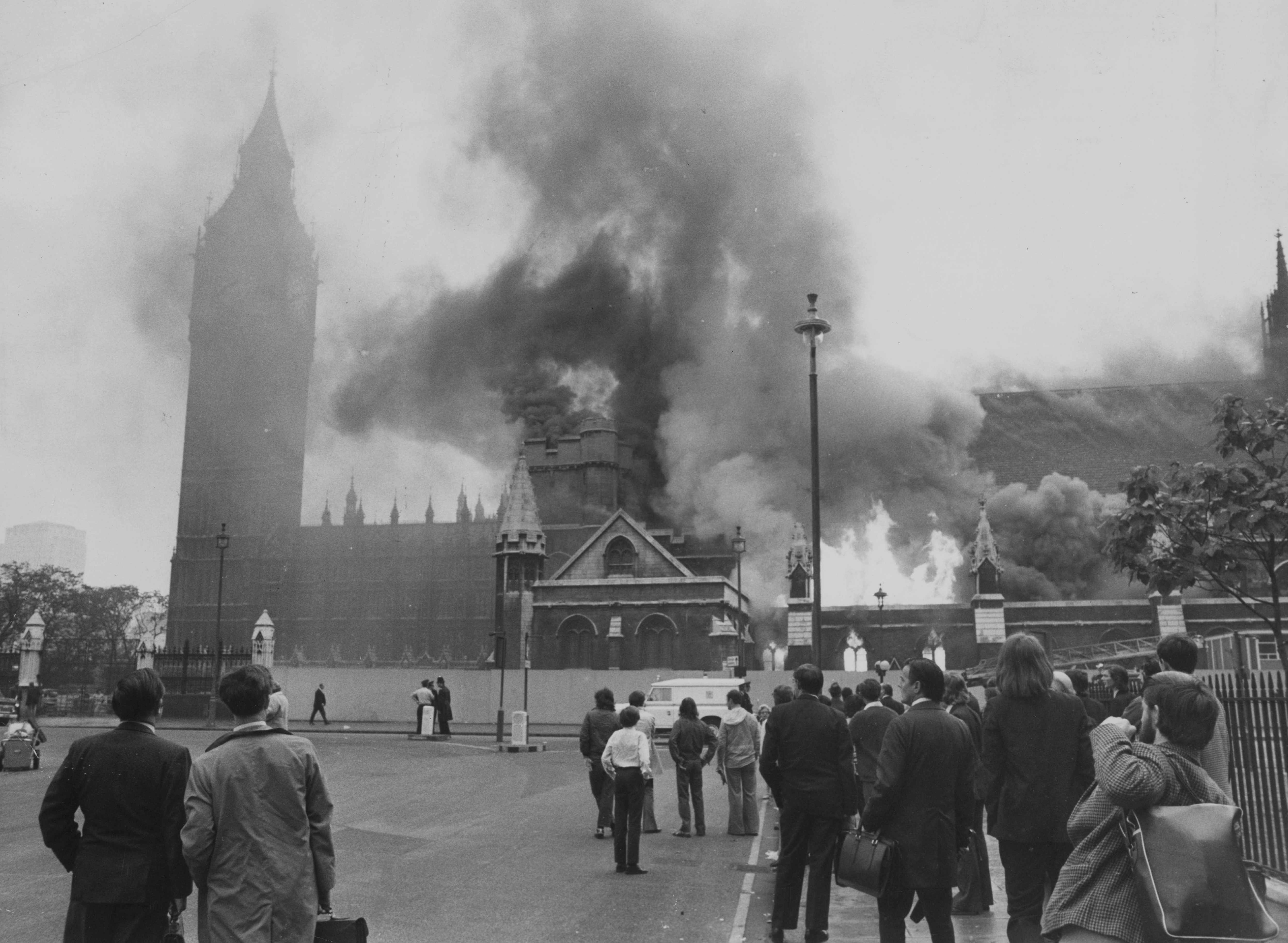 Flames leap from Westminster Hall at the House of Commons in London after an IRA bomb exploded. © Getty Images
