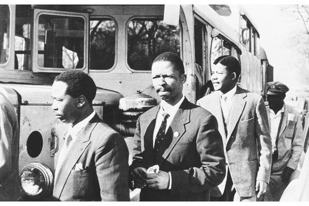 Nelson Mandela (right), Patrick Molaoa and Robert Resha walk to their trial for treason © Getty Images
