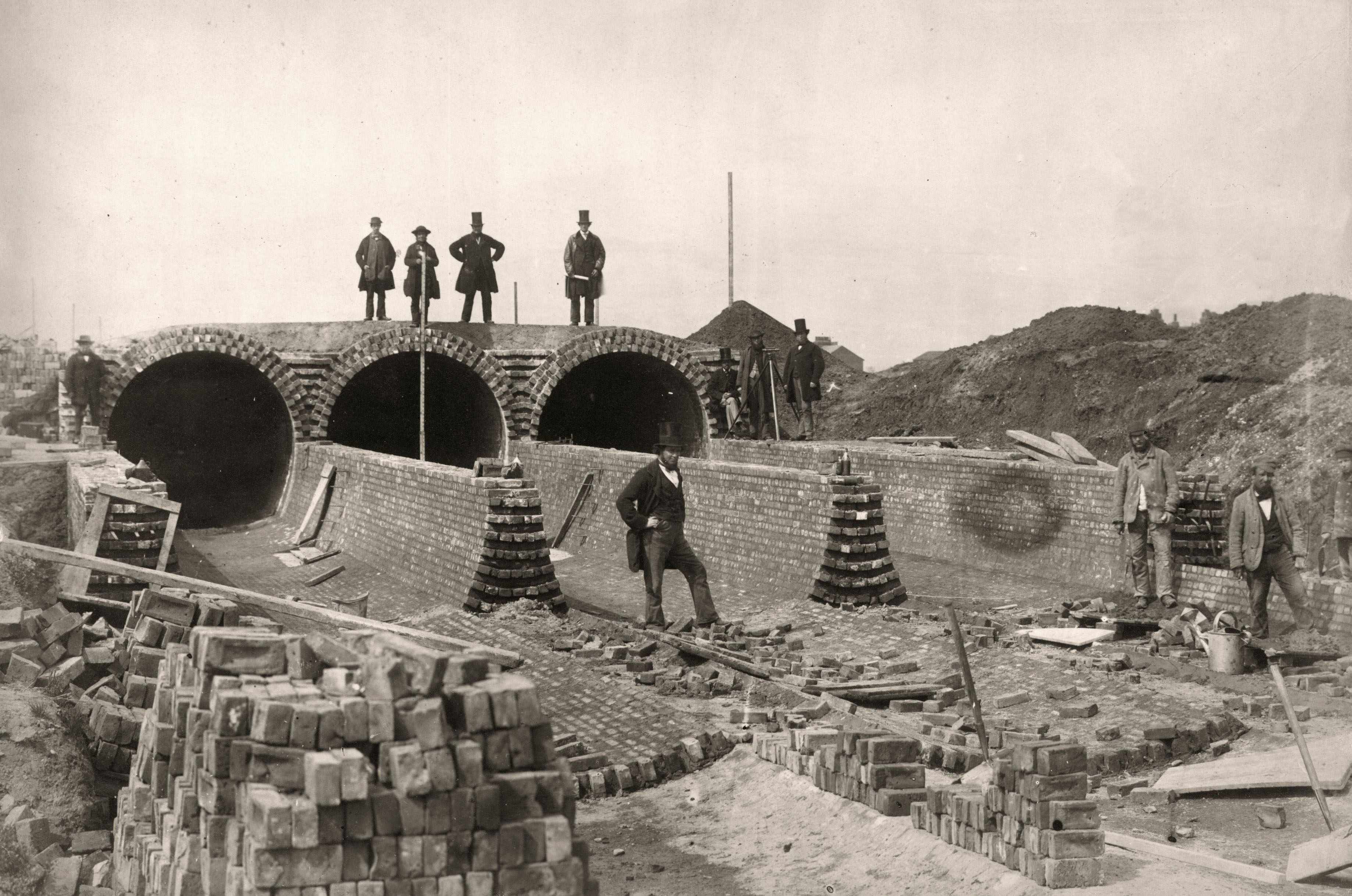Sir Joseph William Bazalgette views the construction of the Northern Outfall sewer. He constructed London's drainage system and the Thames Embankment and was a pioneer of public health engineering. © Getty
