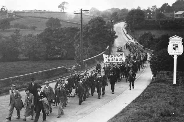 Unemployed men from the shipyard town of Jarrow march to London with Ellen Wilkinson MP © Getty