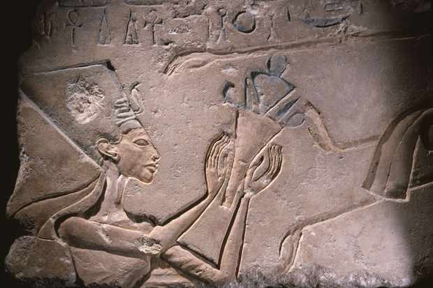 Incised block (talatat) from an Amarna temple, Queen Nefertiti offering a bouquet to Aten. Egypt. Ancient Egyptian. 18th dynasty c 1352 1336 BC. (Photo by Werner Forman/Universal Images Group/Getty Images)