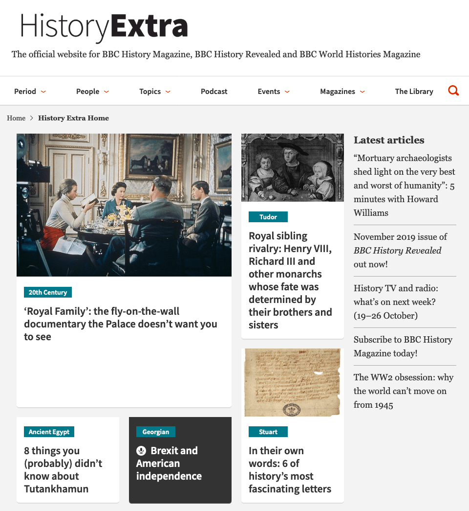 History Extra homepage