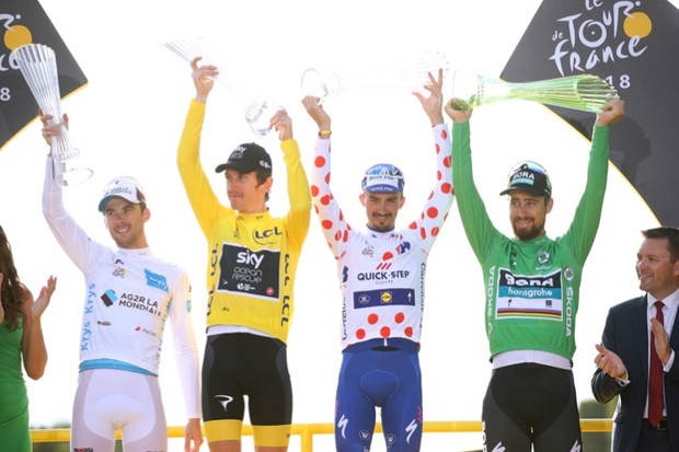 All four jersey winners of the 2018 Tour de France