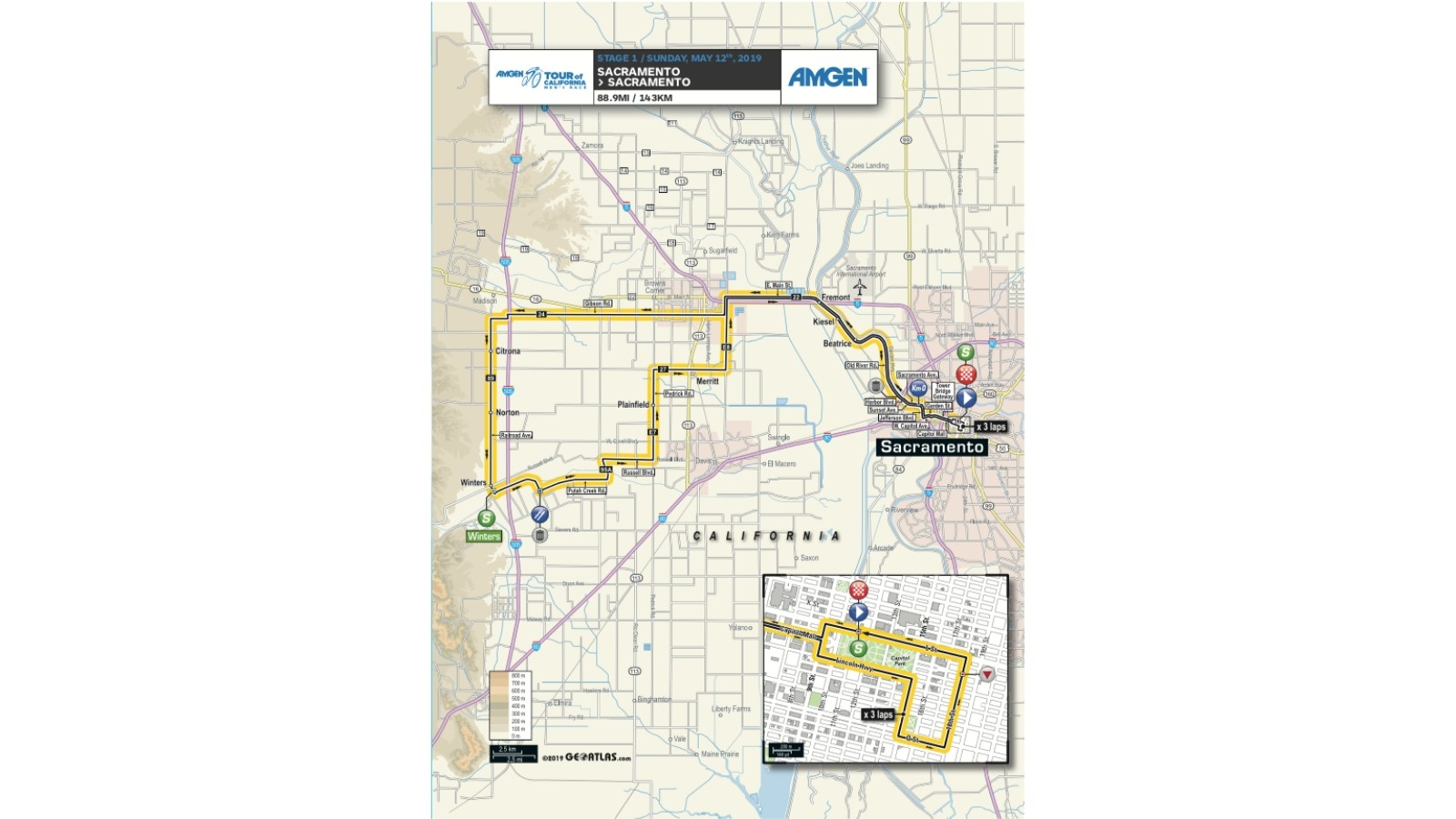 Amgen Tour of California 2019 men's race stage 1 route map