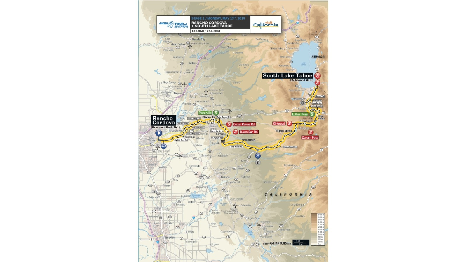 Amgen Tour of California 2019 men's race stage 2 route map