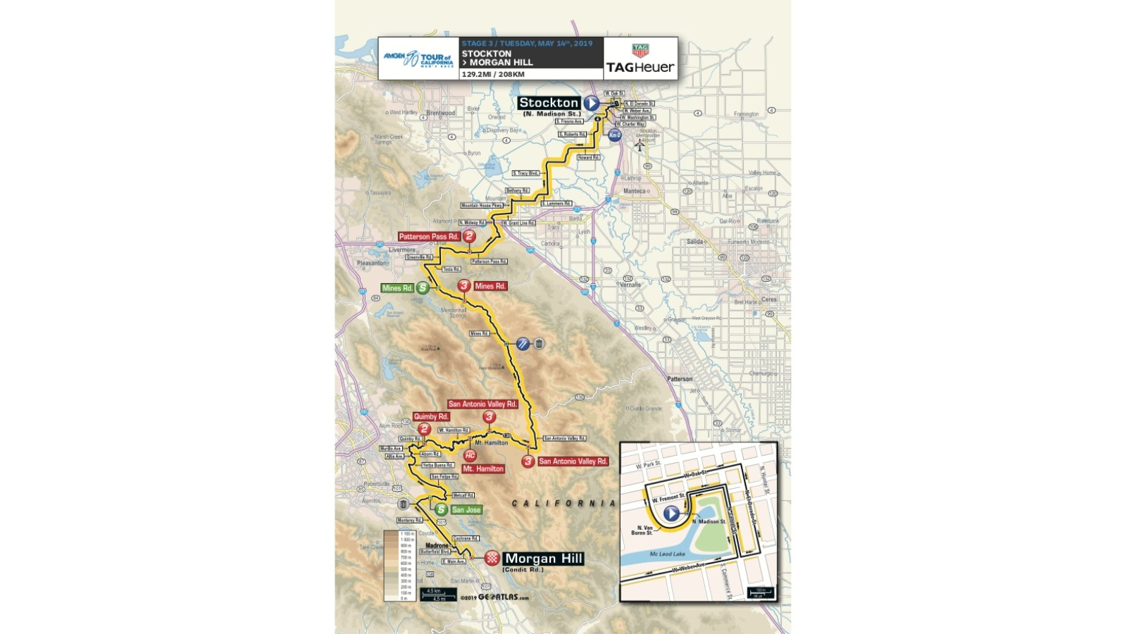 Amgen Tour of California 2019 men's race stage 3 route map