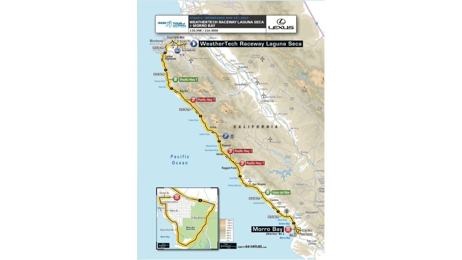 Amgen Tour of California 2019 men's race stage 4 route map