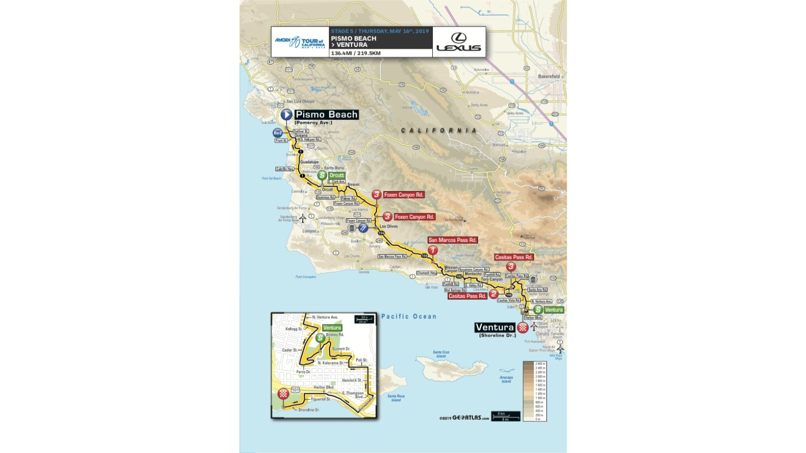 Amgen Tour of California 2019 men's race stage 5 route map