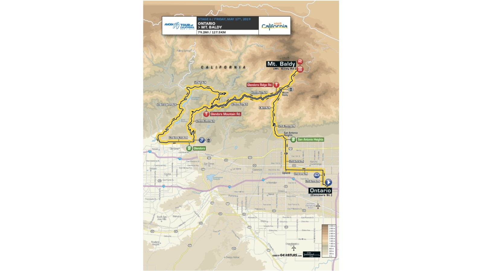 Amgen Tour of California 2019 men's race stage 6 route map