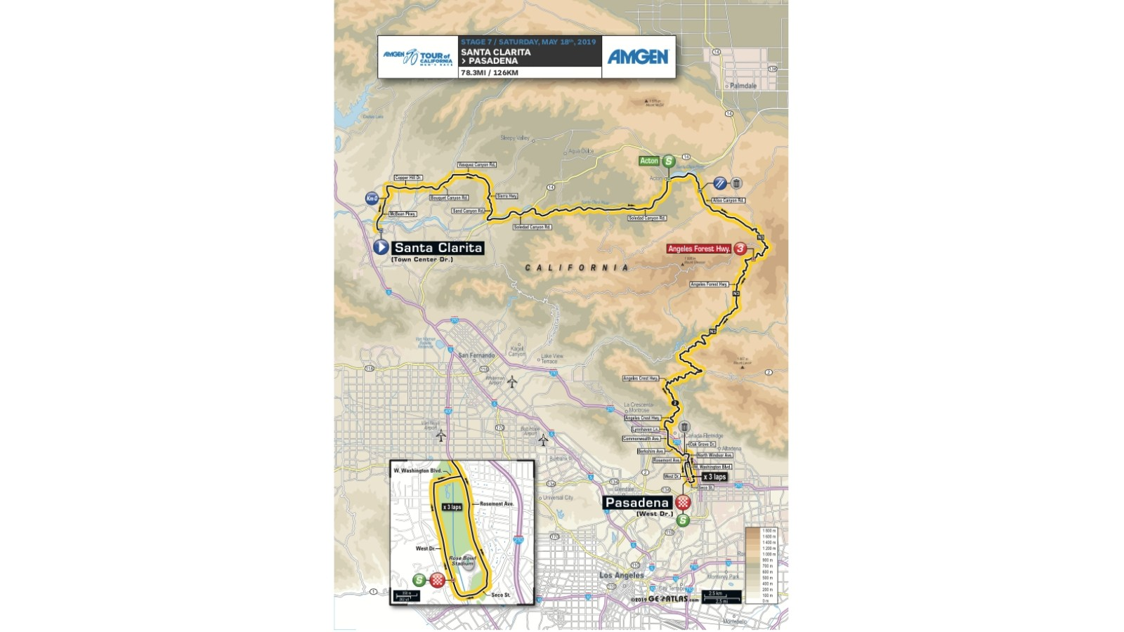 Amgen Tour of California 2019 men's race stage 7 route map