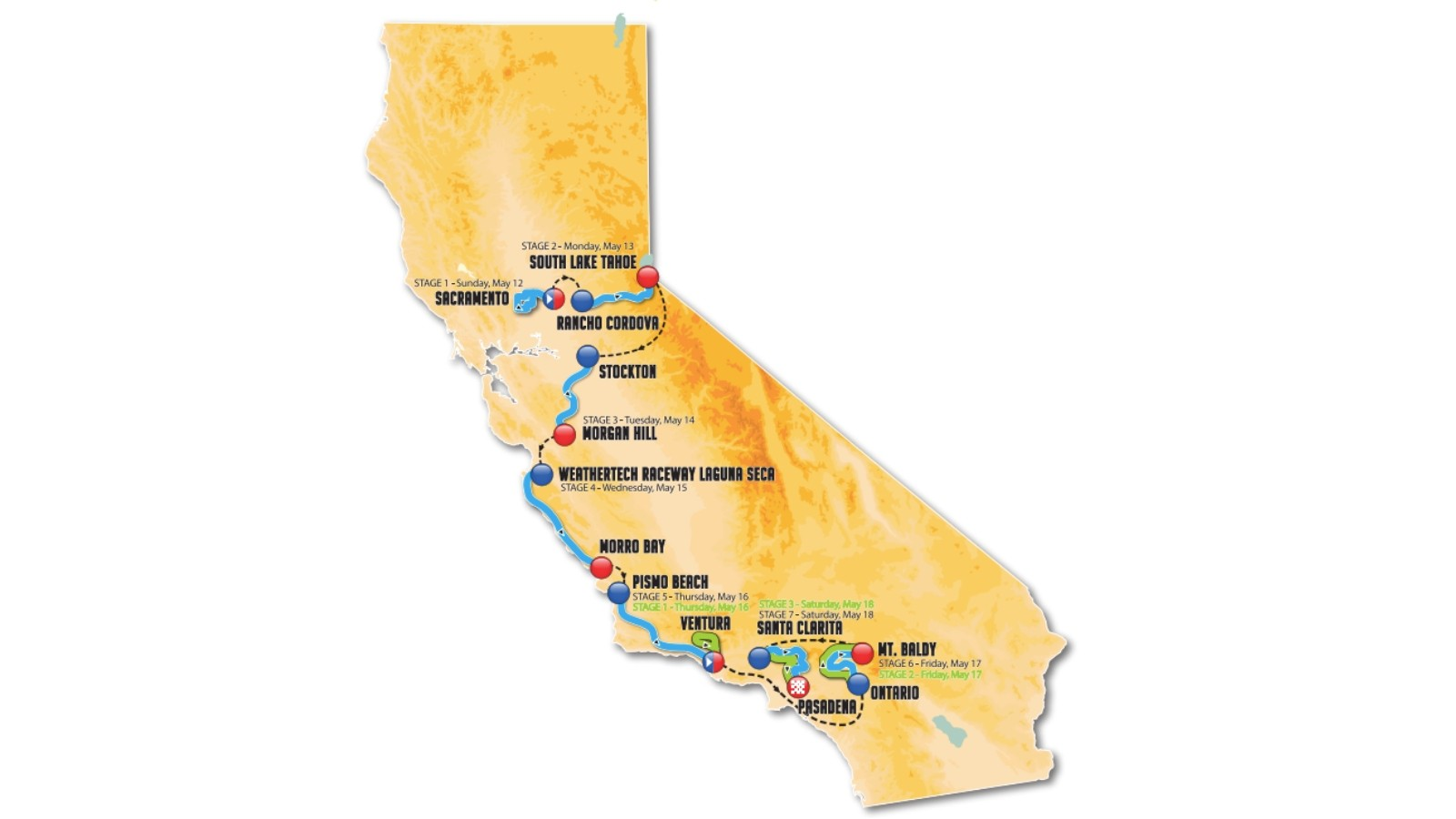 Amgen Tour of California 2019 overall route map