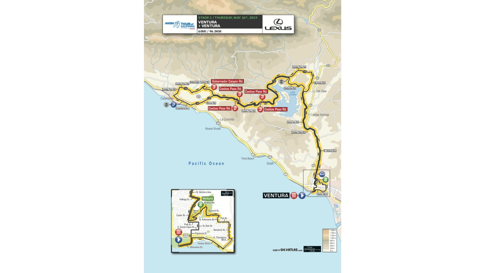Amgen Tour of California 2019 women's race stage 1 route map