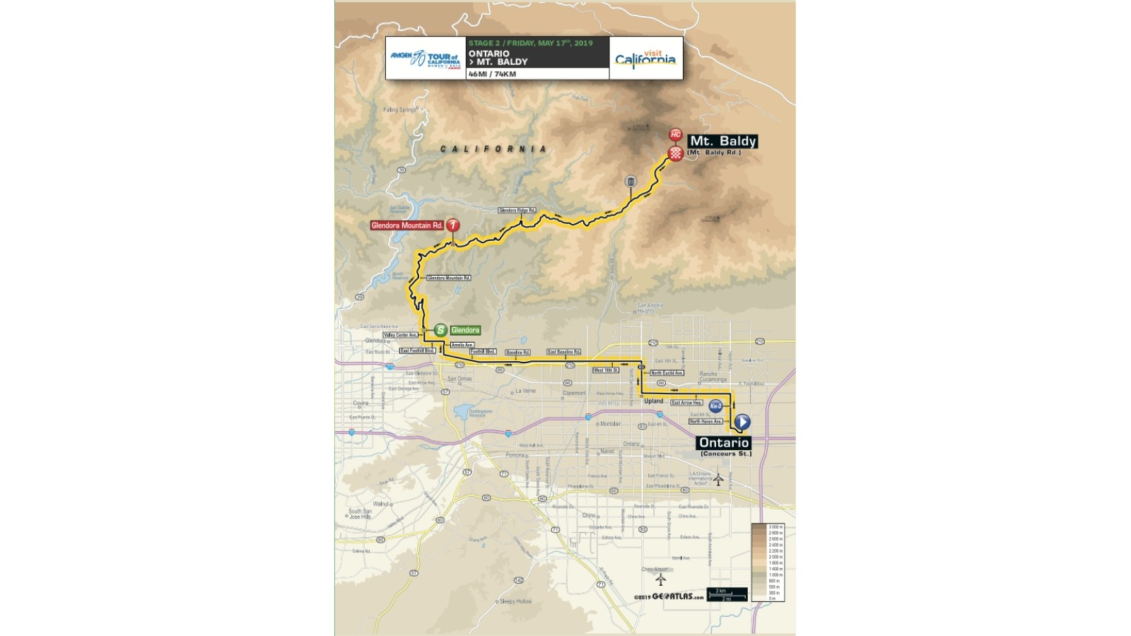 Amgen Tour of California 2019 women's race stage 2 route map
