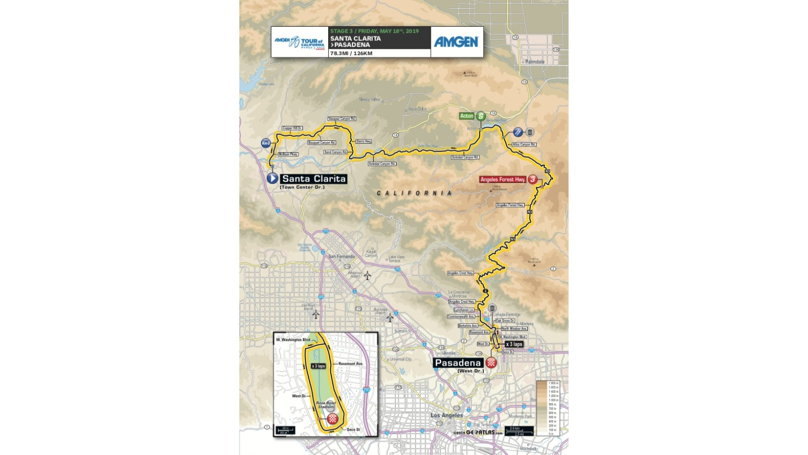 Amgen Tour of California 2019 women's race stage 3 route map