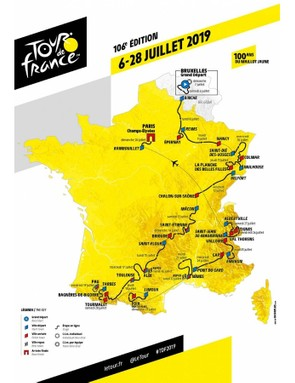 Tour de France 2019 route map