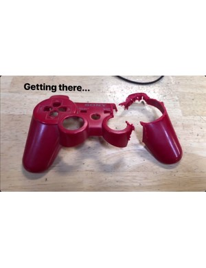 A broken PlayStation controller was sacrificed for the project