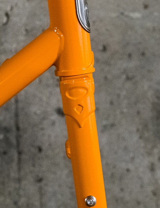 The frame is really nicely finished, with a handsome lugged fork crown...