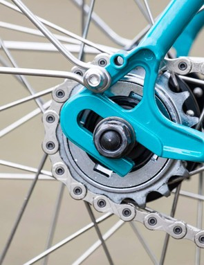 Forward facing dropouts make it easier to remove the rear wheel when mudguards are fitted