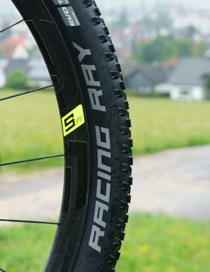 The bike had a new Schwalbe Racing Ray up front...