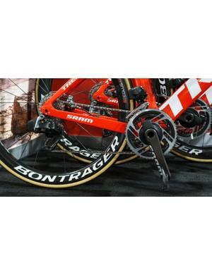 SRAM's unreleased eTap 12-speed groupset was spotted on all of Trek-Segafredo and Alpecin-Katusha's bikes