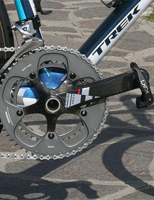 The bike uses a SRAM Red chainset rather than the Dura-Ace model found on last year's Trek.