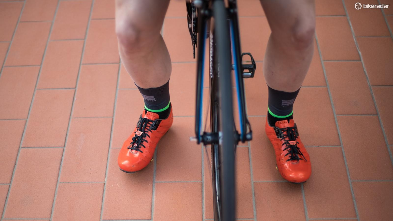 The Giara socks have highlighted details for visibility