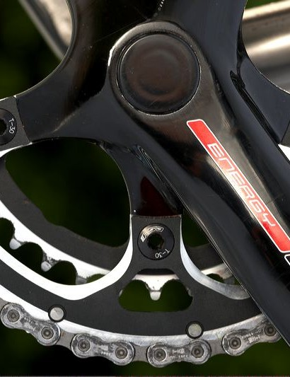 The chainset is an FSA carbon compact double, as often found on cyclocross bikes.