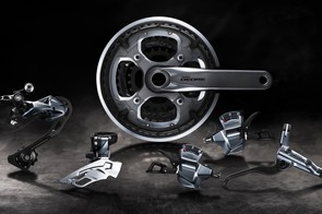 The groupset is available in either black or this handsome brushed silver finish