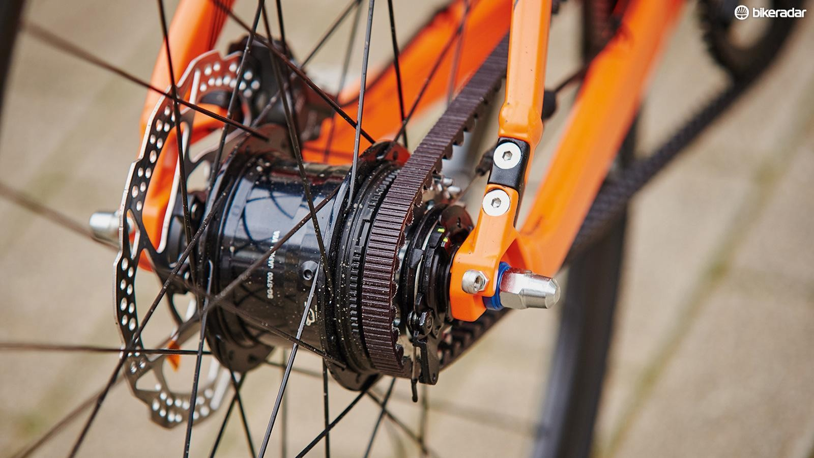 A Shimano Alfine 11-speed hub with Gates Carbon Drive belt