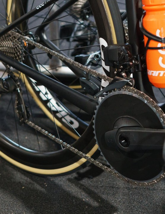 Some bikes have what appears to be a stick-on cover obscuring the chainrings