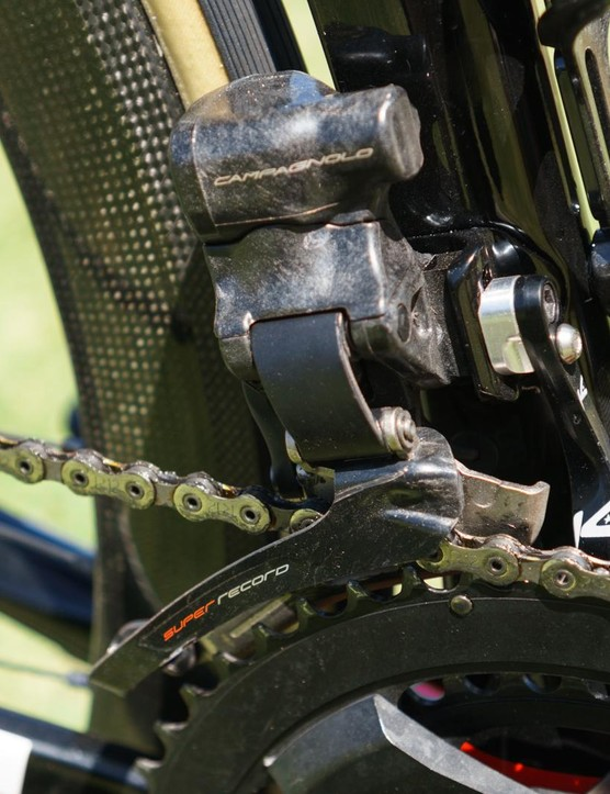 The front derailleur is also reduced in size