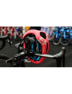 The helmet has POC's blue SPIN lining