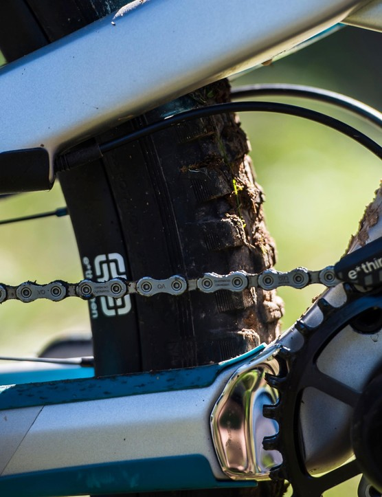 An e13 chainguide keeps the chain locked in place