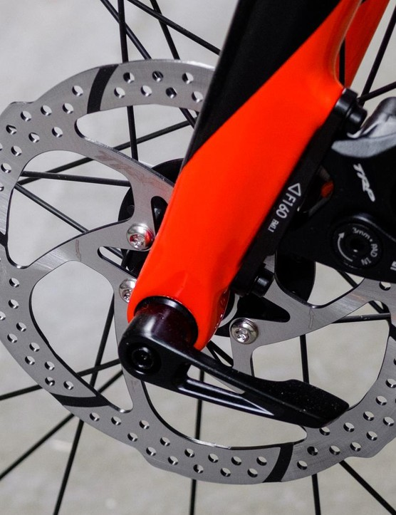 The bike uses thru-axles at the front and rear