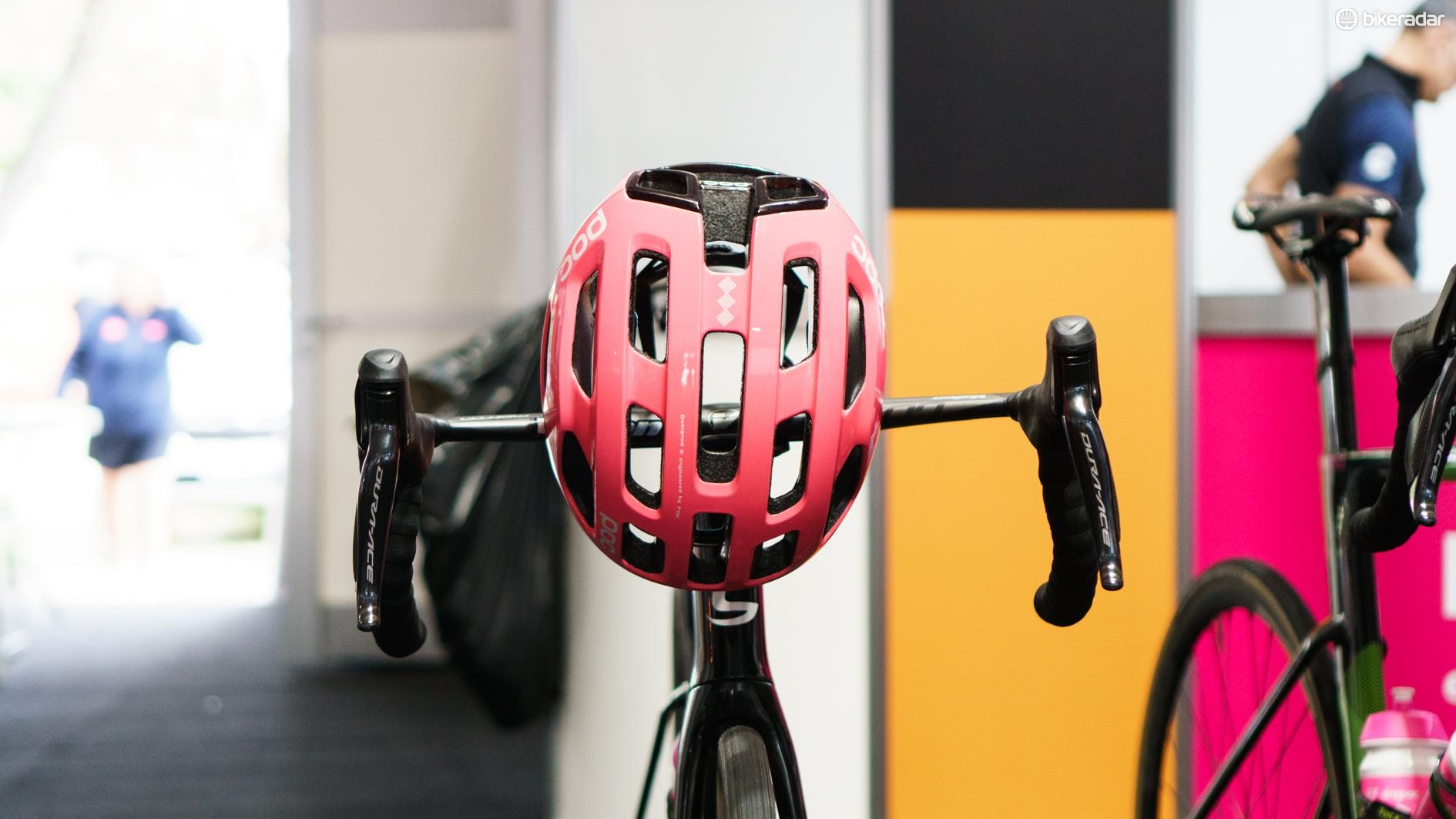 The high quantity of large vents on the helmet draws similarities with the POC Octal, which was the brand's first road cycling helmet