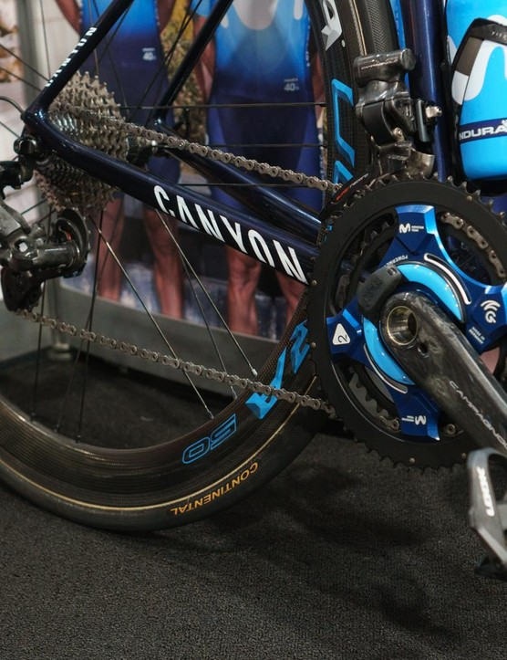 A Movistar bike fitted with the new groupset