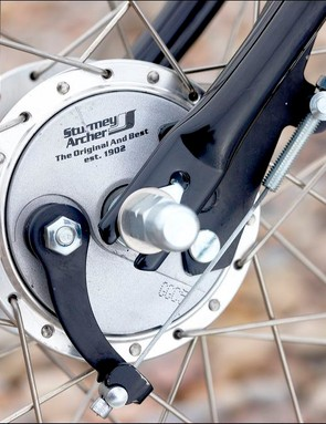 Sturmey drum brakes are not great stoppers, but look cool