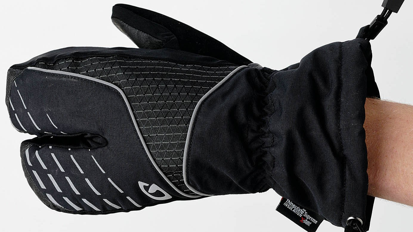 Lobster style gloves are great for cold and wet riding