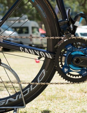 The bike is built around Canyon's as yet unreleased EPS 12-speed Super Record groupset