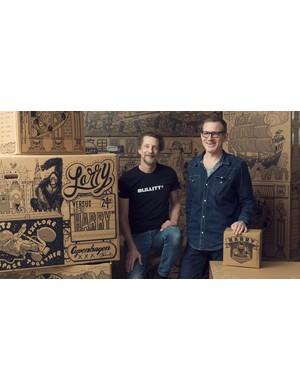 Larry vs Harry's owner Hans Fogh (left) with illustrator Kristian Eskild Jensen (right)